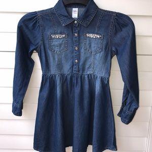 JUSTICE DRESS BLUE DENIM GIRLS EMBELLISHED